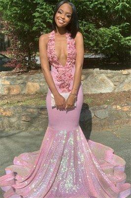 Alluring Halter Applique Glittering Sequins Prom Dresses | Ruffles Open Back Sexy Mermaid Sleeveless Evening Dresses