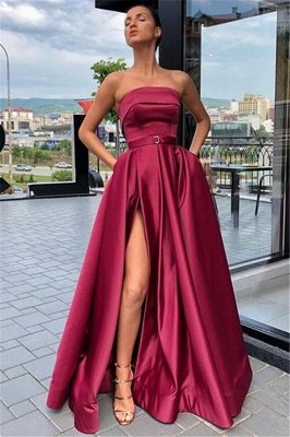 Burgundy Strapless Side-Slit A-Line Evening Gown