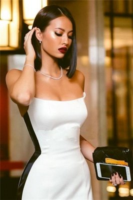 Sexy Strapless Side Slit Evening Dresses Online | Black White Sleeveless Formal Party Dress_4