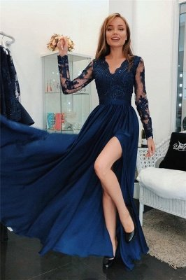 Simple  Applique Hot V-Neck Prom Dresses | Side slit Sleeveless Sexy Evening Dresses with Sparkly Beads