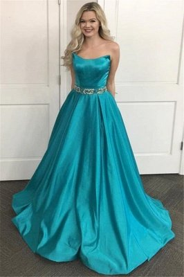 Simple Applique Shining Sequin Strapless Prom Dresses | Sleeveless Sexy Affodable Evening Dresses