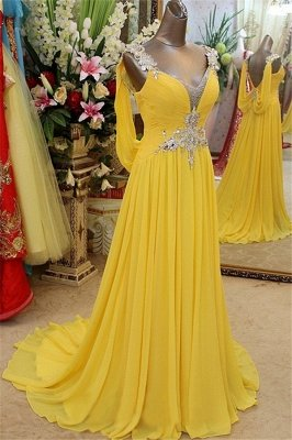 Affordable Yellow Spaghetti Strap Open Back Prom Dresses | Sleeveless Applique Evening Dresses with Beads_1