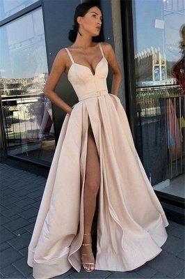 Glamorous Spaghetti-Straps Sleeveless Side-Slit A-Line Prom Dress