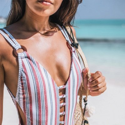 Stripes Backless Sexy One Piece Swimsuit Summer Beach Swimwear_5