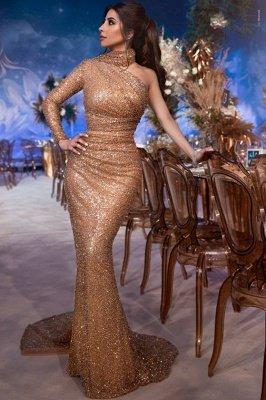 Вечернее платье Русалка с блестками и блестками на одно плечо_1