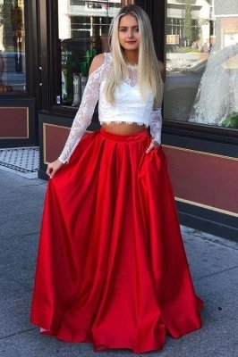 Stunning Jewel Sheer Applique Prom Dresses | Two Piece Longsleeves Sexy Evening Dresses