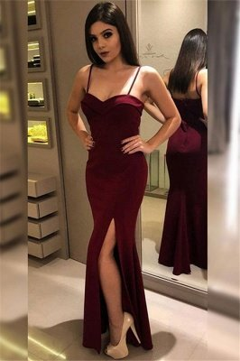 Maroon Spaghetti Strap Ruffles Prom Dresses | Side Slit Sexy Mermaid Sleeveless Evening Dresses