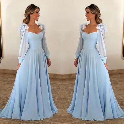 A-Line Blue Flower Appliques Fur Sleeveless Prom Dresses_2
