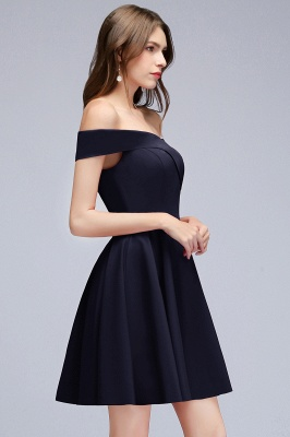 Simple Short Dark Navy Off the Shoulder Bridesmaid Dresses_2
