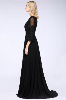 Perles noires manches 3/4 A-Line Appliques robes de demoiselle d'honneur_4