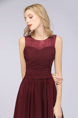 Chiffon A-Line Tulle Lace Scoop Sleeveless Long Bridesmaid Dress with Ruffle_5