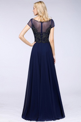 Elegant A-Line Short Sleeves Appliques Beads Bridesmaid Dresses_2