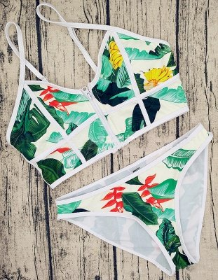Chic Prints Spaghetti Zipper Two-piece Swimsuits