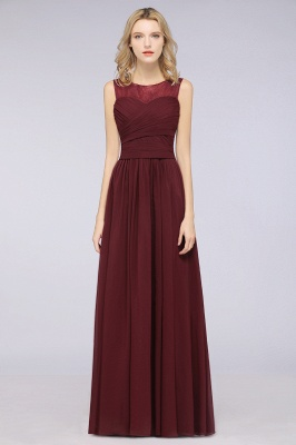 Chiffon A-Line Tulle Lace Scoop Sleeveless Long Bridesmaid Dress with Ruffle_1