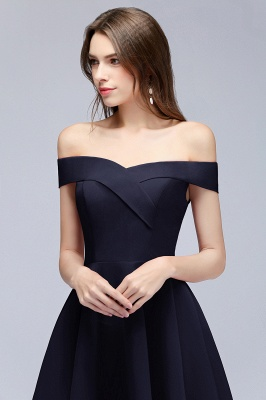 Simple Short Dark Navy Off the Shoulder Bridesmaid Dresses_3