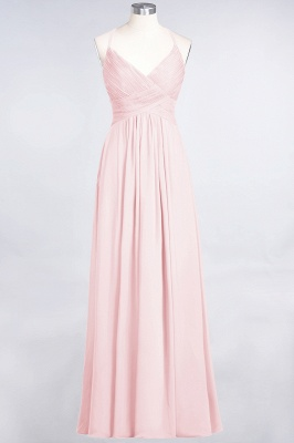 Chiffon A-Line Spaghetti-Straps V-Neck Sleeveless Long Bridesmaid Dress with Ruffles_3