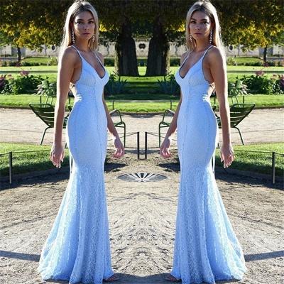 Sexy vestido de noche de encaje con espalda abierta Barato 2021 | Vestido de noche de sirena correas espaguetis azul bebé Fomral_5