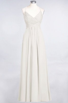 Chiffon A-Line Spaghetti-Straps V-Neck Sleeveless Long Bridesmaid Dress with Ruffles_2