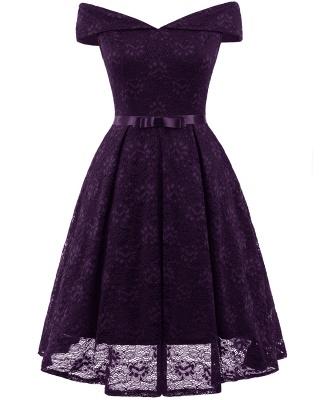 Retro Lace Off-the-shoudler Dress Elegant Cocktail Party Cap Sleeve A Line Vintage Dress_5