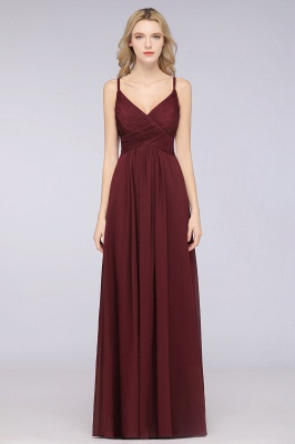 Chiffon A-Line Spaghetti-Straps V-Neck Sleeveless Long Bridesmaid Dress with Ruffles_35