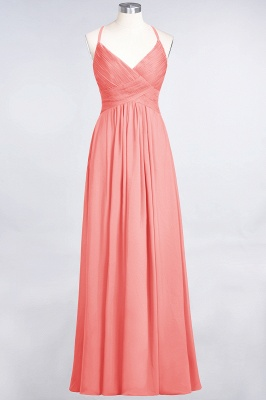 Chiffon A-Line Spaghetti-Straps V-Neck Sleeveless Long Bridesmaid Dress with Ruffles_7