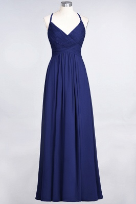 Chiffon A-Line Spaghetti-Straps V-Neck Sleeveless Long Bridesmaid Dress with Ruffles_25