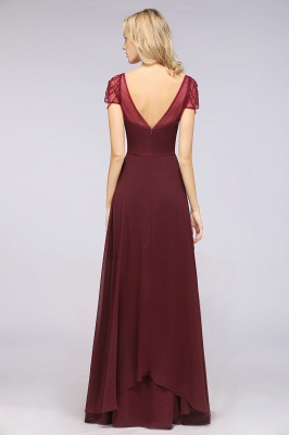 Chiffon A-Line Sweetheart Cap-Sleeves Ruffle Long Bridesmaid Dress with Beadings_3