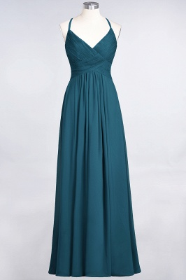 Chiffon A-Line Spaghetti-Straps V-Neck Sleeveless Long Bridesmaid Dress with Ruffles_26