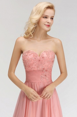 Sexy Sweetheart A-Line Appliques Long Bridesmaid Dresses Online_5
