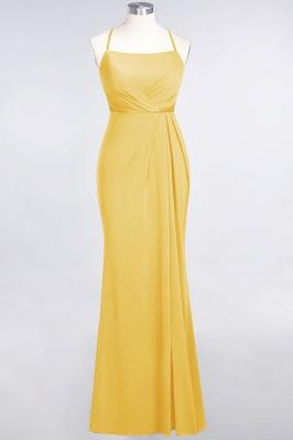 Spandex Lace Mermaid Spaghetti-Straps Sleeveless Long Bridesmaid Dress with Ruffle_15
