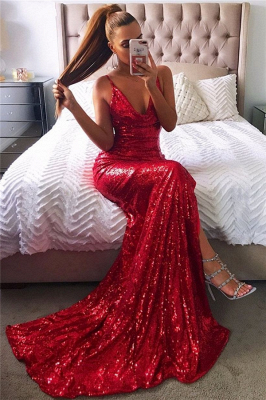 Sexy Red Sequin Prom Dresses | Halter Neck Backless High Slit Party Dresses_2