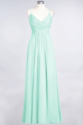 Chiffon A-Line Spaghetti-Straps V-Neck Sleeveless Long Bridesmaid Dress with Ruffles_34