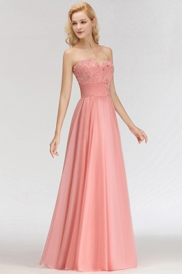 Sexy Sweetheart A-Line Appliques Long Bridesmaid Dresses Online_4