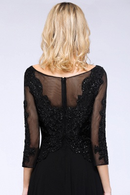 Perles noires manches 3/4 A-Line Appliques robes de demoiselle d'honneur_6