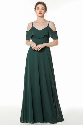 New Arrival Spaghetti Straps Open Back Simple Long Bridesmaid Dresses_1