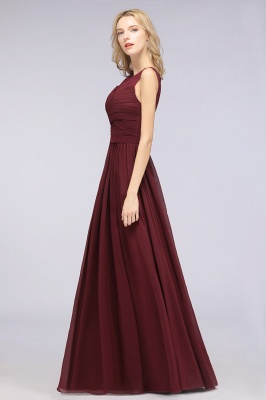 Chiffon A-Line Tulle Lace Scoop Sleeveless Long Bridesmaid Dress with Ruffle_3