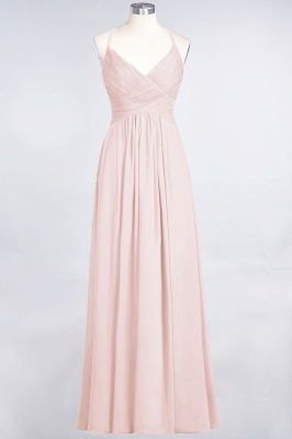 Chiffon A-Line Spaghetti-Straps V-Neck Sleeveless Long Bridesmaid Dress with Ruffles_5