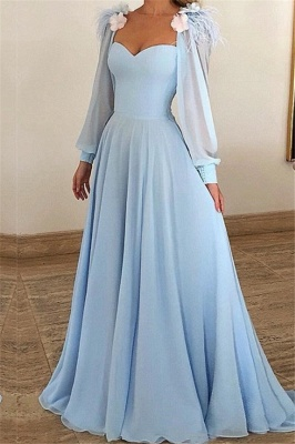 A-Line Blue Flower Appliques Fur Sleeveless Prom Dresses_1