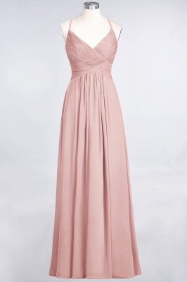 Chiffon A-Line Spaghetti-Straps V-Neck Sleeveless Long Bridesmaid Dress with Ruffles_6