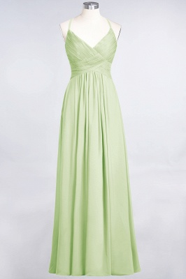 Chiffon A-Line Spaghetti-Straps V-Neck Sleeveless Long Bridesmaid Dress with Ruffles_33