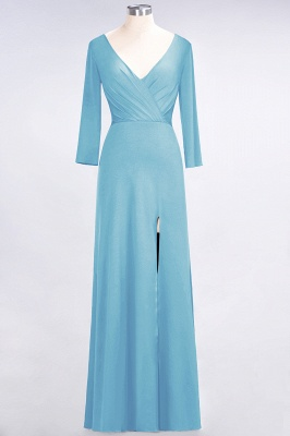 Spandex A-Line V-Neck Long-Sleeves Side-Slit Long Bridesmaid Dress with Ruffles_21