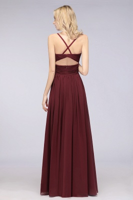 Chiffon A-Line Spaghetti-Straps V-Neck Sleeveless Long Bridesmaid Dress with Ruffles_36