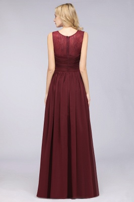 Chiffon A-Line Tulle Lace Scoop Sleeveless Long Bridesmaid Dress with Ruffle_2