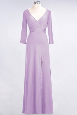 Spandex A-Line V-Neck Long-Sleeves Side-Slit Long Bridesmaid Dress with Ruffles_18