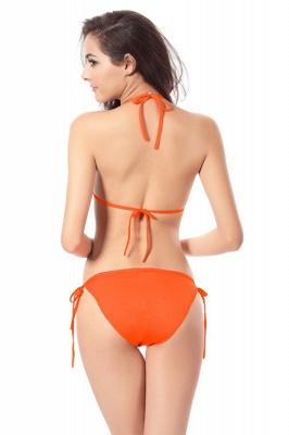 Simple Halter Triangle Pads Two-piece Bikini Sets_38