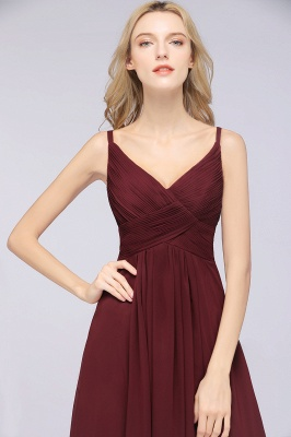 Chiffon A-Line Spaghetti-Straps V-Neck Sleeveless Long Bridesmaid Dress with Ruffles_39