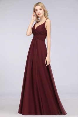 Chiffon A-Line Spaghetti-Straps V-Neck Sleeveless Long Bridesmaid Dress with Ruffles_37