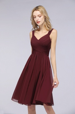 Elegant Ruffles Straps Sleeveless Short Bridesmaid Dresses_3