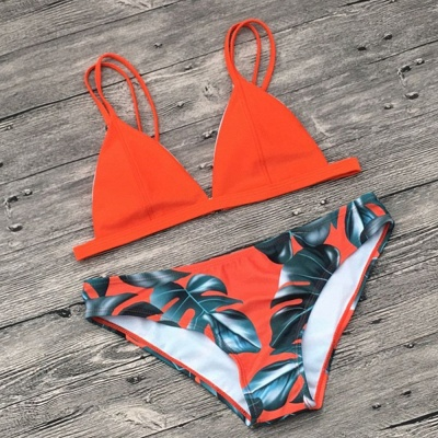 Colorful Prints Triangle Pads Bikini Sets_3