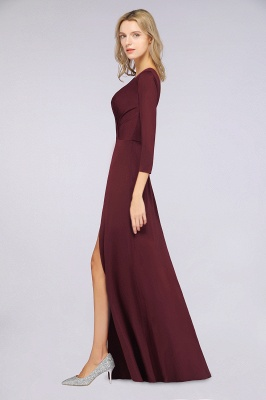 Spandex A-Line V-Neck Long-Sleeves Side-Slit Long Bridesmaid Dress with Ruffles_34